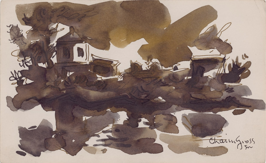 Ink drawing of a landscape, complete with a heavily shadowed clouds, façades of buildings and small trees. The scene is reflected in the foreground of the work, likely on a body of water.