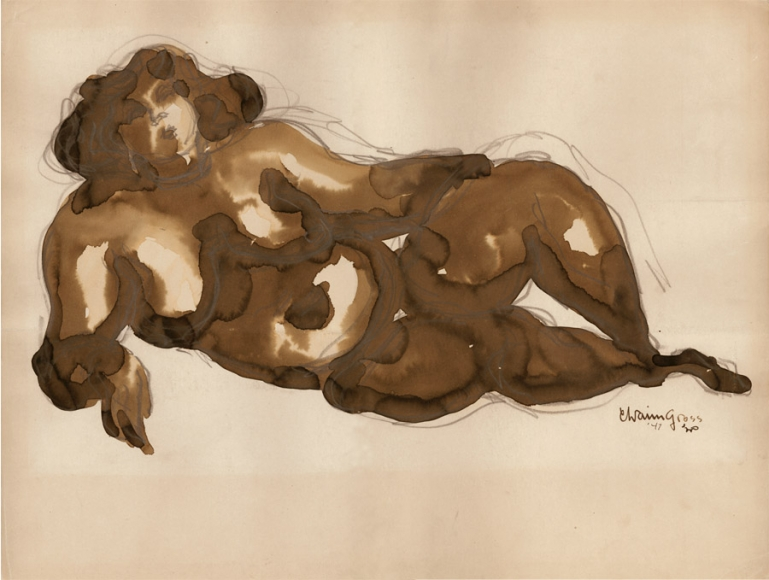 Brown, ink and pencil drawing of a reclining nude woman who is leaning on her right (the viewer's left) elbow.