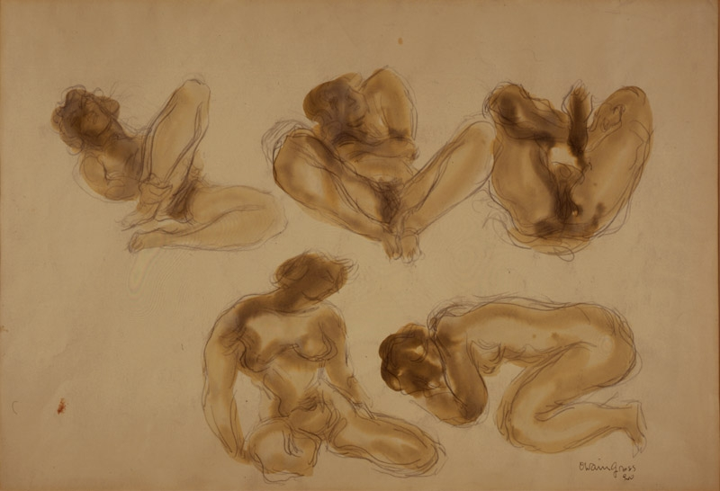 Drawing of five nude figures in various seated positions. The figures are shaded with brown ink.