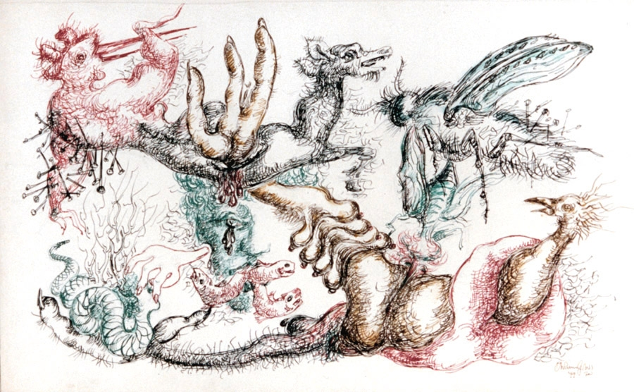 Detailed sketch of various winged animals, each drawn using different colored ink. Some of the animals are depicted with nails in them, creating a metaphor for the feeling of frustration.