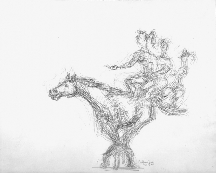 Pencil sketch of three figures sitting on the back of a horse in motion.