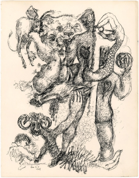 Untitled (No. 10), c. 1950, Ink on Paper, 12 x 9 inches