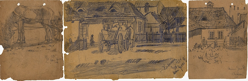 Three pencil drawing of a village town. The left depicts a grazing horse, attached to carriage. The center drawing depicts a carriage parked on grassland in front of a village complete with rectangular buildings with low roofs. The scene is continued in the rightmost drawing. Both the center and right drawing includes scattered human figures.