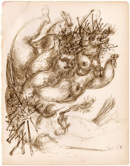Untitled (No. 24), 1940, Ink on Paper, 12 x 9 inches