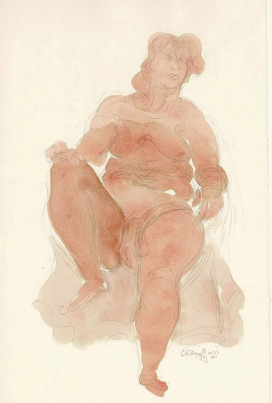 Sketch of a seated female figure, filled in with orange watercolor paint.