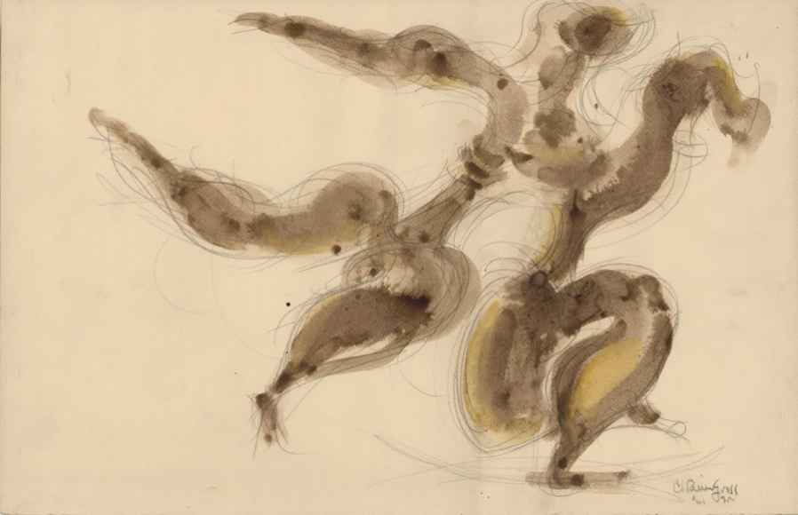 Abstract drawing of two figures dancing. The bodies of each figure is outlined in pencil and roughly filled in with ink wash.