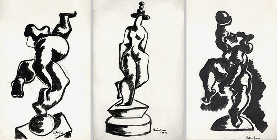Three separate abstract ink drawings of acrobats. The first features an figure balancing on a ball, followed by a figure standing on a platform with three balls balanced on her head, and lastly a heavily shaded figure raising a ball above its head.
