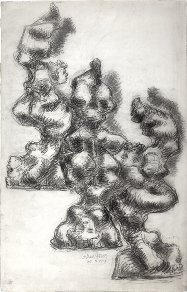 Abstract drawing of acrobats dancing and stretching in various different positions.