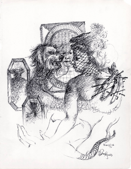 Surrealist ink drawing of a veiled woman that is being embraced by a hairy beastly animal with a long tail, whose hands are nailed into her back. Surrounding the figure are mirrors that reflect their faces.