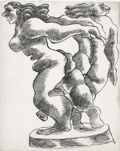 Drawing of two nude figures in mid-dance. The drawing uses a cross-hatching technique to create shadows.