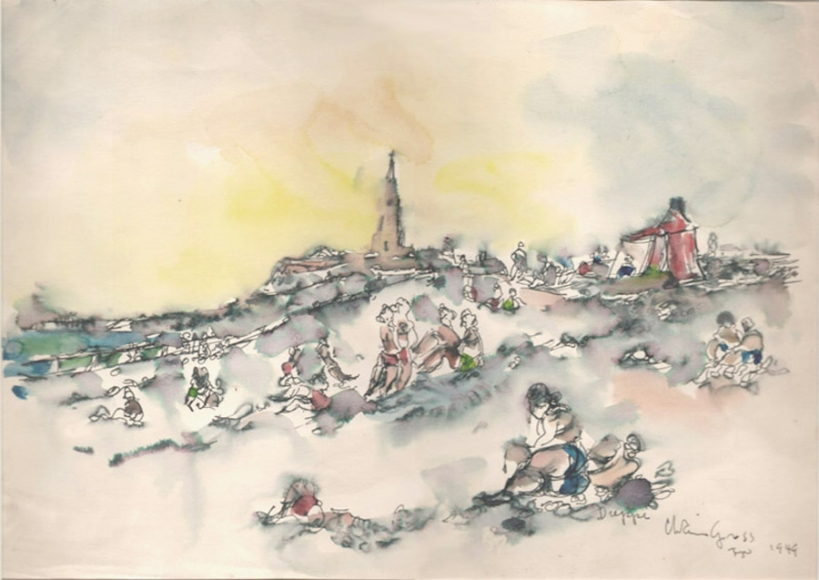 Ink and watercolor drawing of a beach, complete with blue-green water in the left midground, a lighthouse in the center-background, and various colorful figures scattered throughout.