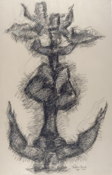 An abstract, heavily shaded drawing of one acrobat sitting cross-legged while holding another acrobat in the air.