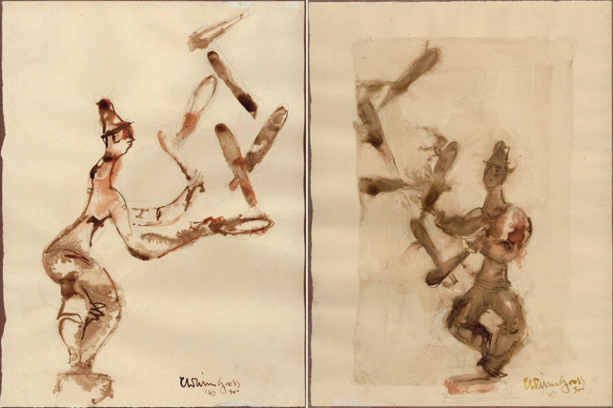 Jugglers, 1963, Watercolor and Pencil on Paper, 15 x 22 inches