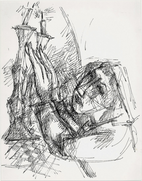 Ink crosshatch drawing of a woman raising her hands to two candlesticks featured on a raised surface on the left of the composition.