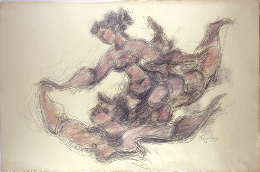 Sketch of two figures leaping into the air. The pencil drawing is done using a rough, quick style.