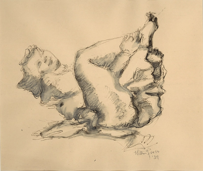 Ink drawing of a nude figure with its knees brought inwards and its head and legs slightly raised.