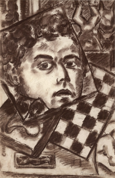 Conte crayon drawing of the profile of a man (Chaim Gross) as seen through a mirror. Around the mirror are various objects, including a chessboard and sculptures.