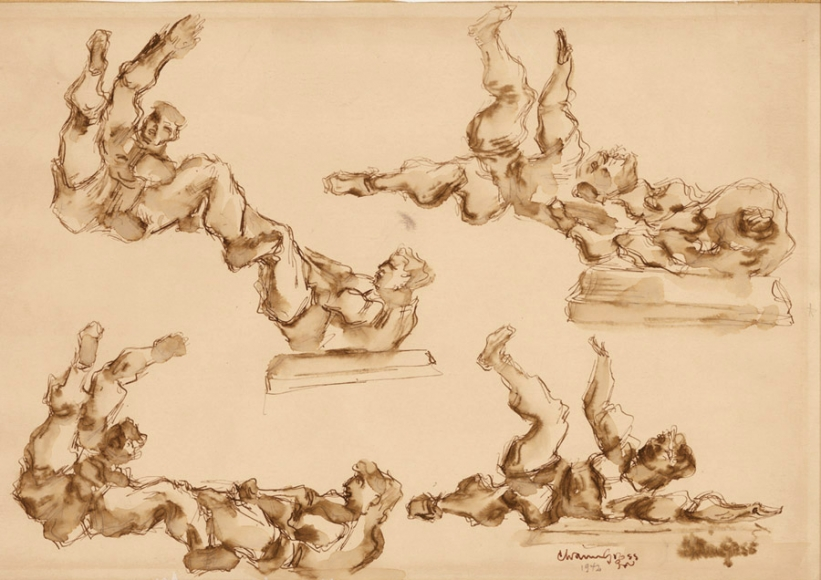 Sketch of several men in different poses while wrestling, both in mid-air and on the ground. The drawing is done using brown tones.
