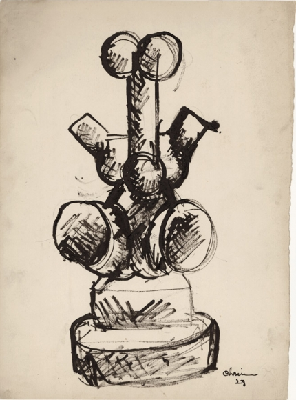 Sketch of a sculpture, composed of various geometric shapes to depict a human figure.