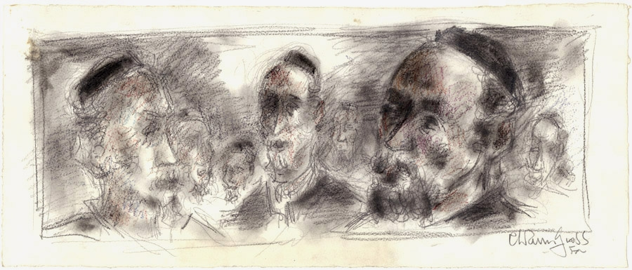 Conte crayon and charcoal drawing of the portraits of various bearded men, some of which are in profile, complete with black yarmulkes (skullcaps) and collared shirts worn under black outerwear.