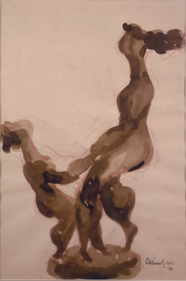 Dancing Mother, 1961, Conte Crayon and Ink Wash on Paper, 19 x 12 1/2 inches