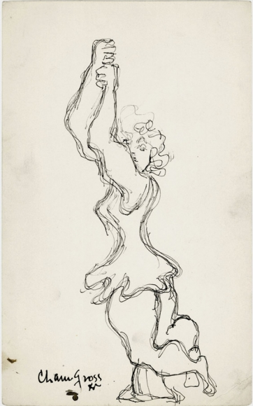 Pen drawing of a woman in a ruffled dress, closing her eyes and holding her hands up high above her head.