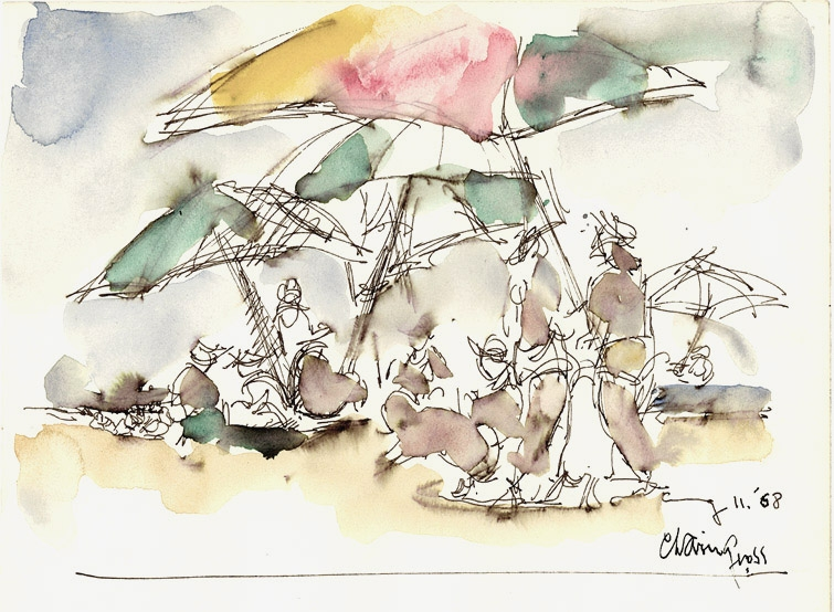 Pen sketch of groups of figures and umbrellas on a beach. The umbrellas are done in red, green and yellow watercolor. The figures are filled in with brown watercolor, and the sand in beige.
