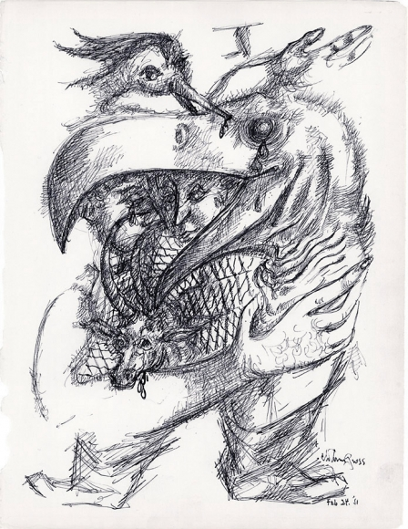 Ink drawing of a figure with short and stocky legs and a human arm. Its head is that of a bird, and a human head emerges from within the open beak. The figure holds a ram while another bird pecks at the eyes of the figure from above.