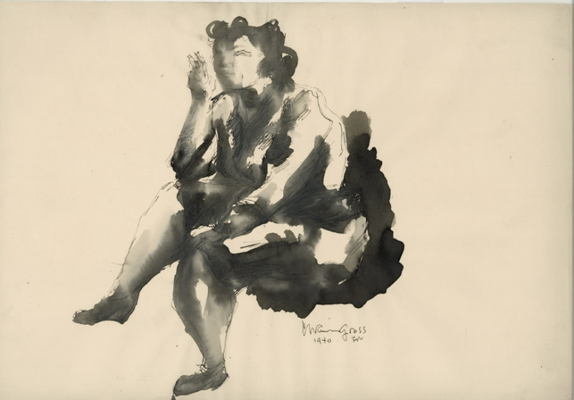 Ink drawing of a seated woman, facing the left side of the image. She is sitting with her legs crossed and holding a cigarette in her right hand.