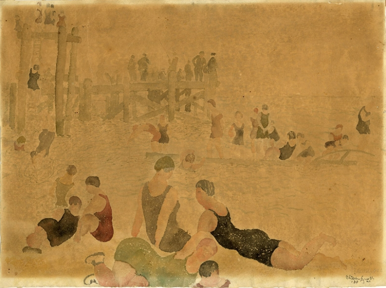 Pencil and watercolor drawing various figures in black, red, grey, and green 1920s singlet bathing costumes, positioned in various poses alongside a pier on the left and the water on the right.
