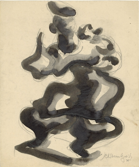 Sketch done in black watercolor and pencil of an abstract figure wearing a dress and holding one arm upward.