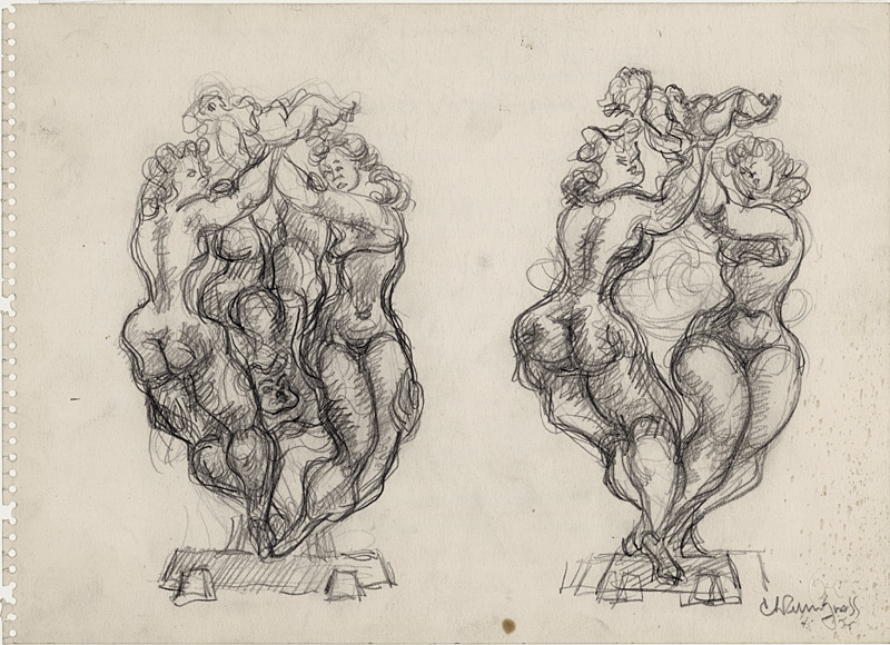 Two pencil drawings, almost identical in form, or two dancing nude figures balancing on a small platform. Each pair raises a child above their heads.