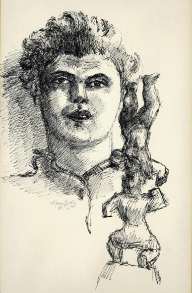 Ink drawing of the profile of a man (Chaim Gross), wearing a collared shirt. In the bottom right foreground is a sculpture, depicting a figure balancing upside-down on the head of another figure. Below his collar on the left is the date and signature of the artist.