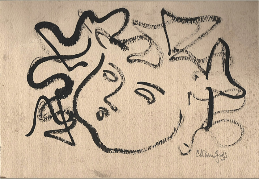 Abstract ink drawing of the head of a woman, drawn in outlines of her face, facial features, and hair.