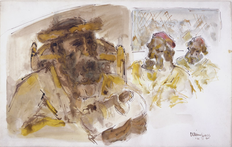 Rough sketch of three male figures, depicted from the shoulders to the head. The largest of which, on the left, sits on a chair, holding a baby swaddled in white. Each man is bearded and filled-in with brown and yellow watercolor paint.