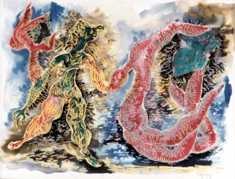 Happy and Unhappy, 1948, Crayon and Watercolor on Paper, 17 5/8 x 22 3/8 inches
