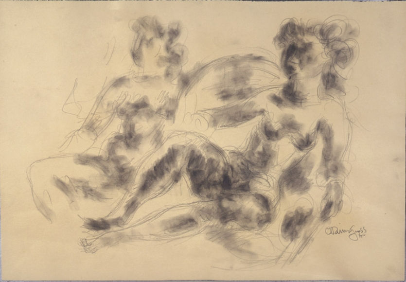 Sketch of two nude seated figures. The outline of the figures is done with a very light pencil, and the shadows are filled in with smudged charcoal.