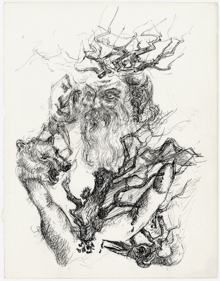 Ink drawing with surrealist imagery, depicting a bearded man with a hand that forms the shape of a wolf's head, holding a hyper realistic mask of a human face. Emerging from various points of his torso and head are what appears to be branches or roots, including a large or bird emerging from below its left (viewer's right) shoulder.