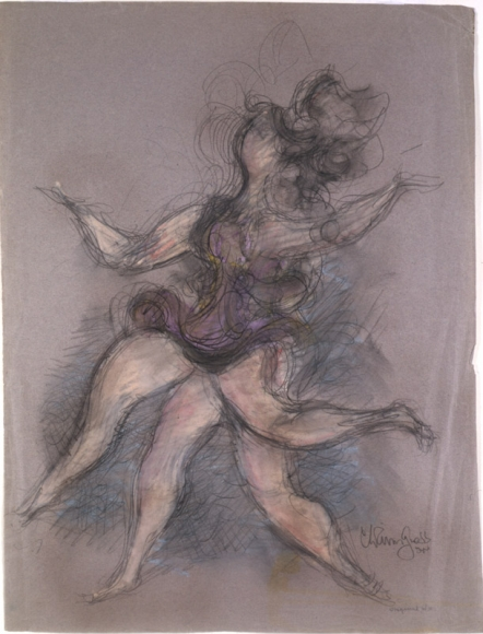 Sketch of a figure dancing in motion. Repetitive outlines and fast sketching is used to convey motion.
