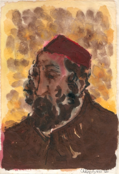 Ink and watercolor portrait of a man in half profile, facing the left of the composition. He is rendered in shades of brown, from his collared garment, skin and brown beard. His square yarmulke is dark red. Behind him are a collection of faint orange and brown splotches of watercolor.
