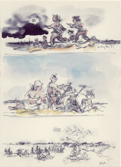 Three Beach Scenes, 1951, Ink and Watercolor on Paper, 10 7/8 x 8 inches
