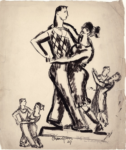 Drawing of one large central couple and two smaller couples dancing on either side. The central couple is detailed and outlined in thick charcoal. The couples on either side are done in a quick style.