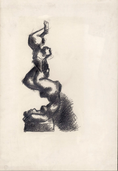 Heavily shaded drawing of a figure holding a smaller figure in the air on their feet and balancing.