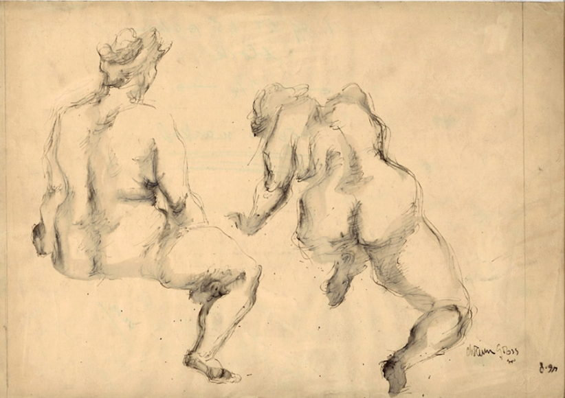 Ink drawing of two nude female figures, as seen from the back. The one on the left is sitting, its left leg not visible, while the one on the right appears to be hunched forward, with its left arm slightly bent.