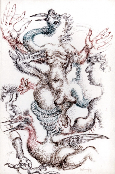 Abstract drawing of human figures surrounded by a number of different animals. The figures and animals have unrealistic proportions and numbers of body parts. The figures overlap each other. The drawing is done in green, red and brown ink.