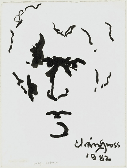 Ink drawing made of small strokes that harnesses negative space to create the profile of a man (Chaim Gross). In the bottom-right of the work is the artist's signature and the date.