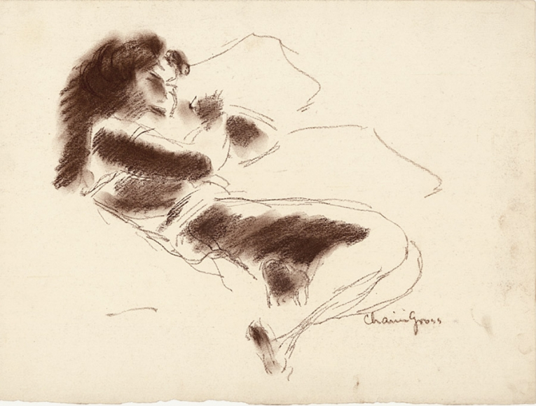 Conte crayon sketch of a woman reclining, with her knees slightly drawn inwards, shaded in brown.