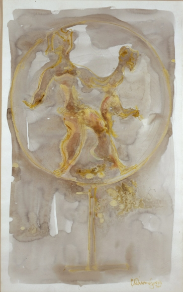 Mother and Child in a Ring, c. 1960, Watercolor and Pencil on Paper, 22 1/2 x 13 3/4 inches