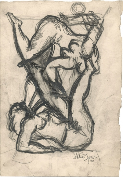 Two Acrobats, 1933, Pencil on Paper, 11 x 7 1/4 inches