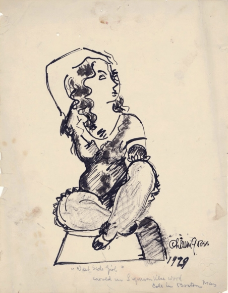 Seated Female Figure, 1929, Ink on Paper, 10 3/4 x 8 3/4 inches